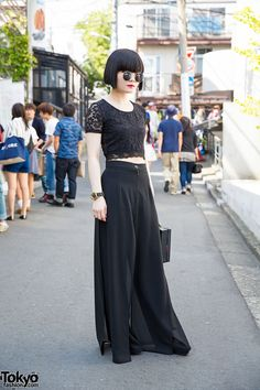 All Black Fashion w/ Nadia Harajuku Culottes, Box Bag & Marc by Marc Jacobs