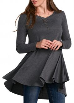 This site is super inexpensive and the clothes get great reviews. Deep Grey Long Sleeve V Neck T Shirt on sale only $20.51  Shirt at lulugal.com