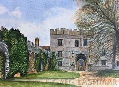 Osyth Priory is a Grade 1 listed estate, once the largest monastery in Essex, founded in the century. Pen And Watercolor, Watercolor Artwork, Gate House, Contemporary Artwork, Art Uk, 12th Century, Original Artwork, Digital Prints, Beautiful Places