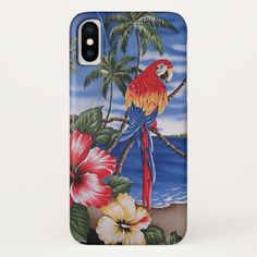 Colorful Macaws Hawaiian Beach Summer Scene iPhone X Case -nature diy customize sprecial design