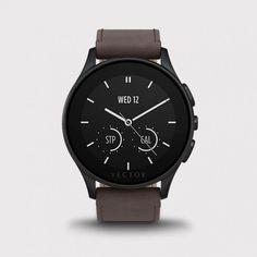 Vector Watch Luna - Siyah Çelik Kasa ve Kahverengi Deri Kordon Akıllı Kol Saati