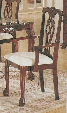 Set of 2 dining arm chairs cherry finish acme chairs for Queen anne style kitchen
