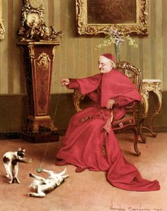 The Ball of String by Belgian Painter Georges Croegaert 1848-1923