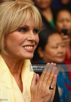 Actress Joanna Lumley pays respects to Ghurkas and their families during a protest at the High Court supporting the rights of Ghurkas on September 16, 2008 in central London, England. Joanna Lumley showed her support today for Ghurkas who have been refused permission to settle or work in Britain. Their court case is due to appear at the High Court today.
