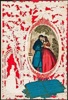 A mid-nineteenth century valentine addressed to Miss Maria French. Usually found in less impressive versions, costly  imported English lace-paper is the background for this romantic scene.