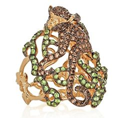"Rarities: Fine Jewelry with Carol Brodie 1.9ct Tsavorite and Smoky Quartz ""Monkey"" Ring at HSN.com"