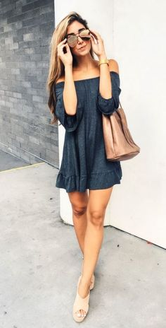 #Summer #Outfits / Off the Shoulder Short Gray Dress + Beige Sandals