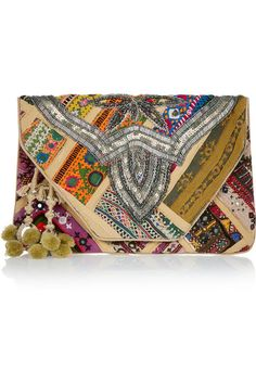 Not really a boho kind of girl but I love this Antik Batik Jango embroidered cotton clutch. So many colors and textures Summer Accessories, Fashion Accessories, Women Accessories, Boho Bags, Lace Up Sandals, Crochet Trim, Beautiful Bags, Evening Bags, Creations
