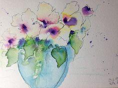 Aquarell Blumenstrauss Natur Blumen Kunst 17 x