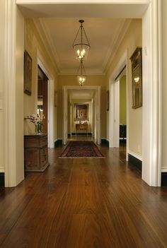 Walnut Hallway California. I like the lights, the mixed trim, and the floors. Beautiful