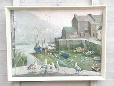 Vintage Retro Vernon Ward CANVAS Framed Print Misty Morning Polperro Cornwall