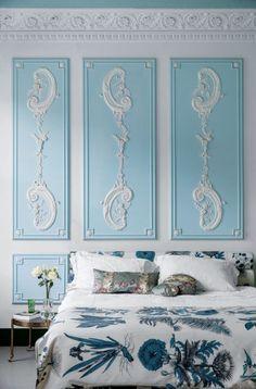 Blue and plasterwork * Interiors Interiors * The Inner Interiorista Elegant Home Decor, Elegant Homes, Cheap Home Decor, Diy Home Decor, Blue Bedroom, Bedroom Decor, Bedroom Ideas, Victorian Terrace House, Built In Wardrobe