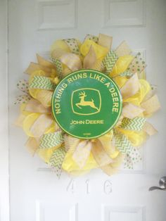 John Deere Mesh & Burlap Ribbon Wreath with Chevron and Polka Dot Burlap Ribbon by TowerDoorDecor on Etsy, $65.00