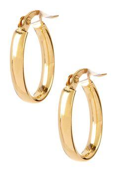 Italian 14K Yellow Gold Small Oval Hoop Earrings