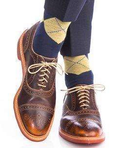 Dapper Classics Dress Navy, Saffron, and Blue Argyle Fine Merino Wool Linked Toe Sock Sock Shoes, Men's Shoes, Dress Shoes, Argyle Socks, Best Shoes For Men, Toe Socks, Dapper Gentleman, Patterned Socks, Colorful Socks