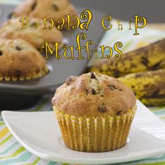This banana chip muffins recipe is another banana recipe that I love to make to use up those bananas. Banana Recipes, Muffin Recipes, Banana Chips, Banana Bread, Muffin Cups, Food Videos, Baking Soda, Muffins, Sweets
