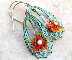 Tangerine Tango French Flower Earrings
