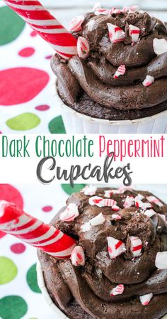 Perfect Dark Chocolate Peppermint Cupcakes with chocolate chunks, topped with dark chocolate buttercream frosting, crushed peppermint candy & a candy cane! Peppermint Chocolate Cupcake Recipe, Peppermint Cupcakes, Chocolate Cupcakes Filled, Winter Desserts, Christmas Desserts, Christmas Baking, Fun Desserts, Delicious Desserts, Dessert Ideas