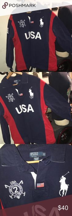 Polo long sleeve rugby men's top Authentic polo long sleeve top great condition. Size XLT tall navy blue and red details Polo by Ralph Lauren Shirts Polos