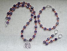 Tree of Life Jewellery Set with Sterling Silver Pendant, Sage Amethyst, Red Carnelian, Sterling and Hill Tribe Silver by AuroraGemBoutique