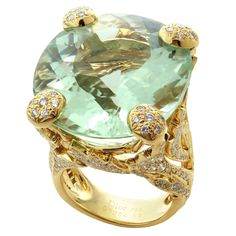 CHRISTIAN DIOR Aquamarine Diamond Large Green Ring | From a unique collection of vintage cocktail rings at https://www.1stdibs.com/jewelry/rings/cocktail-rings/