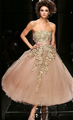 For a smaller exclusive ball, a golden dusty rose dress.