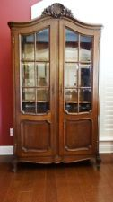 LARGE Antique FRENCH Tiger Oak Carved BOOKCASE Louis XV Beveled Glass LAYAWAY