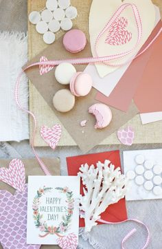 pink moodboard  macarons