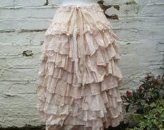 Layered Ruffles Skirt Woman's Clothing Burgundy от BabaYagaFashion