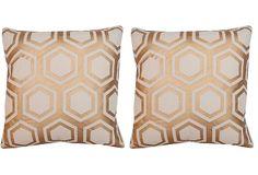 S/2 Kayla 20x20 Pillows, Bronze on OneKingsLane.com
