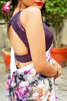 Shop Multicolored Printed Floral Satin White Satin Taping Saree - Sarees Online in India Saree Jacket Designs, Wedding Saree Blouse Designs, Silk Saree Blouse Designs, Blouse Neck Designs, Wedding Sarees, Indian Blouse, Indian Sarees, Indian Wear, Silk Sarees