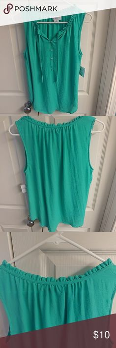 Liz Claiborne Tank Top Brand New/Never Worn. Beautiful Liz Claiborne Henley Ruffle Tank. Mint Leaf Color. 100% Polyester. Size Small Liz Claiborne Tops Tank Tops