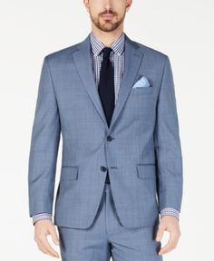 834f5307b094 Michael Kors Men s Classic-Fit Airsoft Stretch Light Blue Windowpane Suit  Jacket - Blue 40S