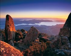 View of Hobart from the summit of Mt. Wellington, Tasmania, Australia - One of my favorite places on Earth.