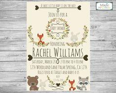 Woodland animal baby shower invitation, woodland baby shower, woodland invitation, rustic baby shower invitation, forest baby shower by MagicPartyDesigns on Etsy https://www.etsy.com/listing/259373263/woodland-animal-baby-shower-invitation