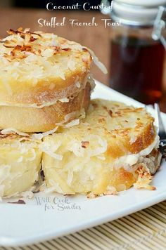 Coconut Crusted Stuffed French Toast - soft in the center and crusted with crunchy coconut flakes on the top.