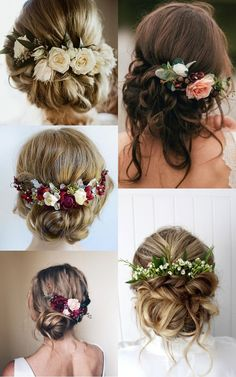 Which hairstyle is right for you? Elegant Wedding Hair, Wedding Hair And Makeup, Wedding Hair Accessories, Bridal Hair, Boho Wedding Hair Updo, Floral Wedding Hair, Floral Hair, Wedding Hair Inspiration, Bride Hairstyles
