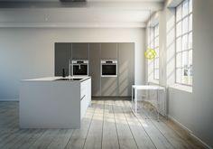 Rene linjer og fargekontraster i lekkert kjøkken