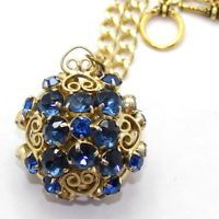 Vintage Juliana NEW FIND Blue Rhinestone Heart Scroll Ball Pendant Necklace