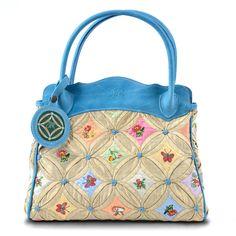 Handbag Pale Blue Silk & Leather