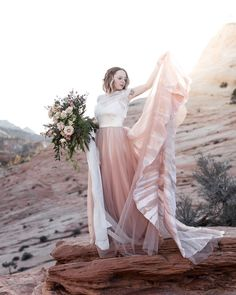 9579b9b17f62 Wedding Dresses Chantel Lauren · Blush rose gold wedding dress hand painted  Zion National Park bride bohemian modern Americana Mae dress
