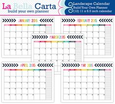 Build Your Own Planner, 2015 Landscape Calendar, 2015 Calendar, Planner  Calendar, Diy
