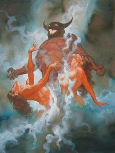 Art by Bernie Wrightson Fantasy Kunst, Dark Fantasy Art, Fantasy Artwork, Dark Art, Heavy Metal, Horror Comics, Bernie Wrightson, Horror Artwork, Arte Obscura