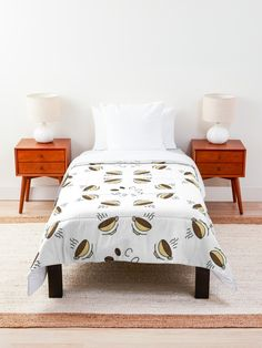 """8 Hour Coffee Clock Work Day"" Comforter by Pultzar 