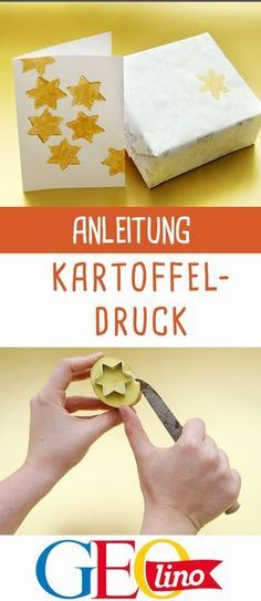 Kartoffeldruck: Anleitung - - Kartoffeldruck: Anleitung Handarbeiten If you want to design paper yourself, we have the right idea for you: potato printing! Winter Crafts For Kids, Winter Kids, Easy Crafts For Kids, Easy Diy Crafts, Fall Crafts, Christmas Crafts, Potato Print, Craft Online, Craft Gifts