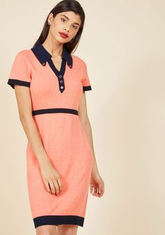 Catalogued Charm Knit Dress. It's apparent from the tidy navy trim and silver-edged buttons of this retro dress that you're an organized lady. #coral #modcloth