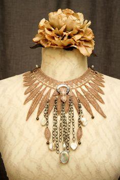 lace necklace APONI ombre ecru tinaevarenee on Etsy