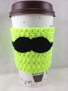 Neon Yellow Mustache Crochet Coffee Cozy by ITalkofDreams on Etsy