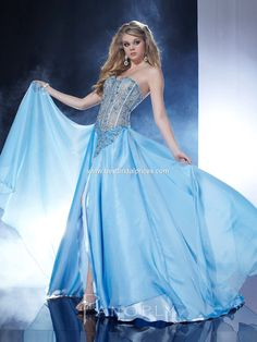 Buy Strapless A-line Chiffon Bodice Arctic Blue Prom/evening/bridesmaid Dresses Panoply 14526