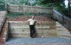 Clever lanscaping idea to attempt today, pin 7656497715 Wood Retaining Wall, Landscaping Retaining Walls, Hillside Landscaping, Landscaping Ideas, Gabion Wall, Patio Ideas, Garden Ideas, Backyard Retreat, Fire Pit Backyard
